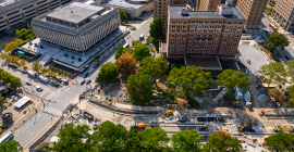 Aerial view of Bigelow Boulevard and the William Pitt Union grounds under construction during the Bigelow Block renovation project.