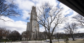 The Cathedral of Learning seen from across the newly renovated Bigelow Boulevard.